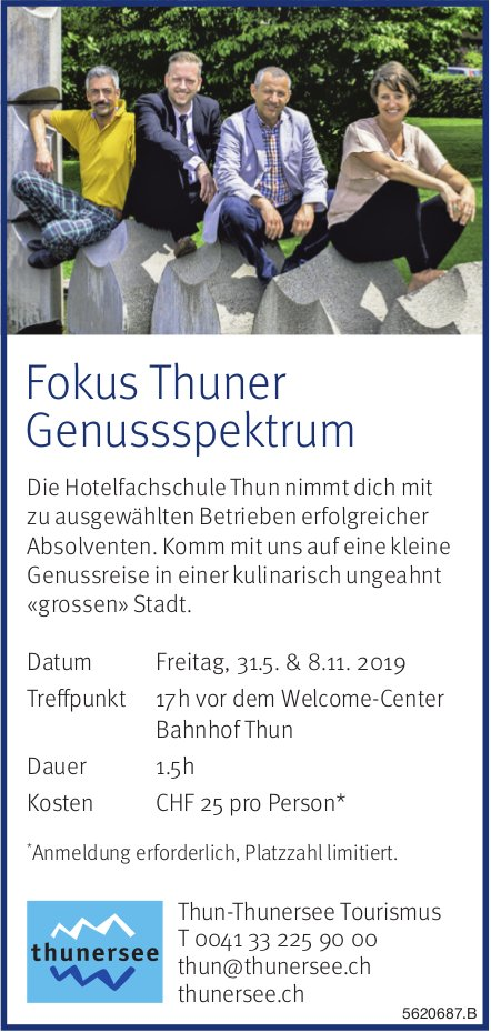 Thun-Thunersee Tourismus - Fokus Thuner Genussspektrum am 31. Mai