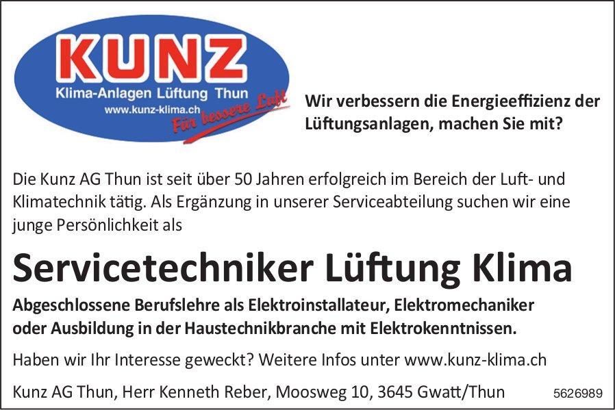 Servicetechniker Lüftung Klima, Kunz AG Thun, gesucht