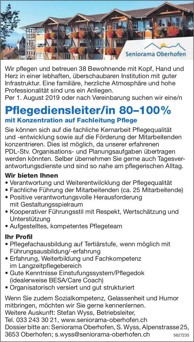 Pflegedienstleiter/in 80–100%, Seniorama Oberhofen, gesucht
