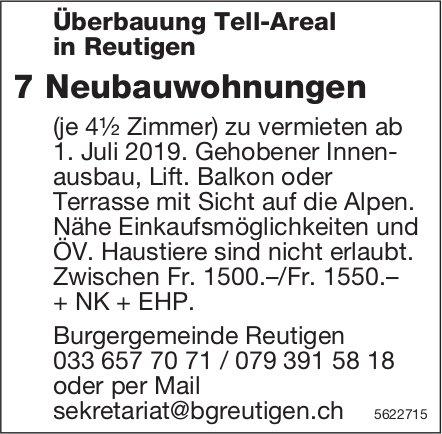 Überbauung Tell-Areal in Reutigen: 7 Neubauwohnungen (je 4½ Zimmer) zu vermieten