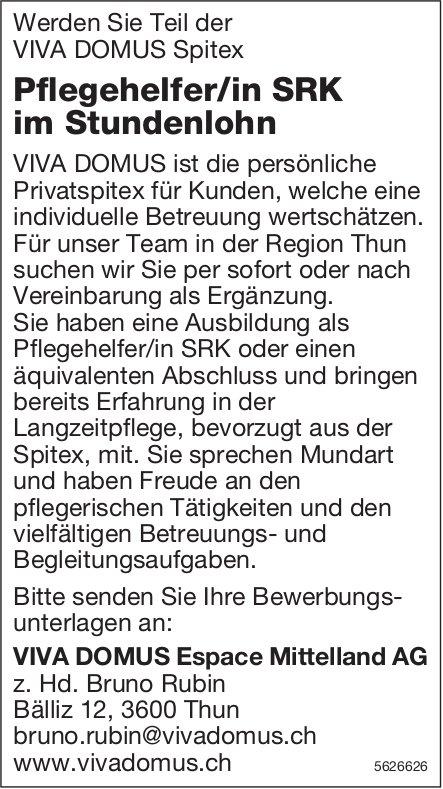 Pflegehelfer/in SRK im Stundenlohn, VIVA DOMUS Espace Mittelland AG, Thun, gesucht