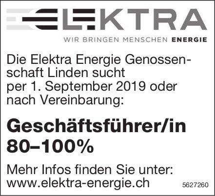 Geschäftsführer/in 80–100%, Elektra Energie Genossenschaft Linden, gesucht