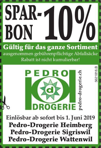 Pedro Drogerien, Heimberg, Sigriswil & Wattenwil - SPAR-BON 10%