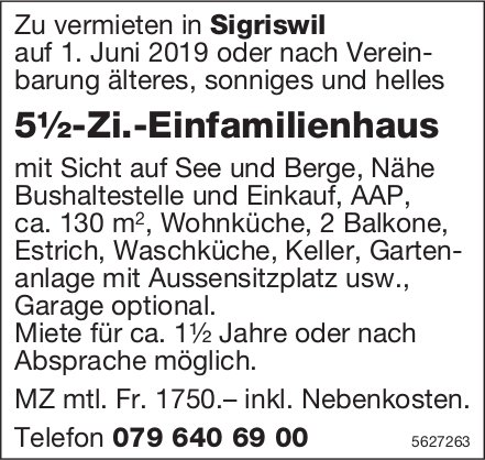 5½-Zi.-Einfamilienhaus in Sigriswil zu vermieten