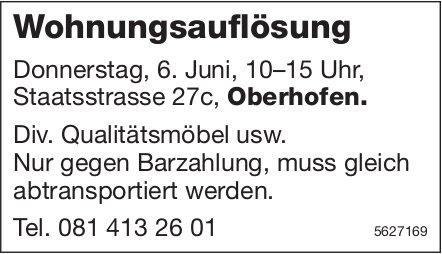 Wohnungsauflösung Donnerstag, 6. Juni, 10–15 Uhr, Staatsstrasse 27c, Oberhofen.