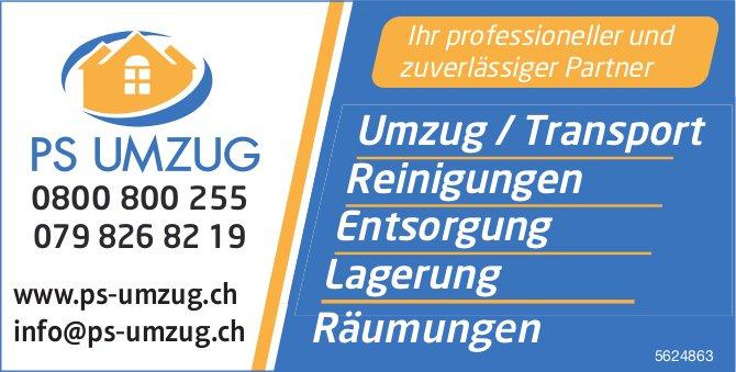 PS UMZUG - Ihr professioneller und zuverlässiger Partner