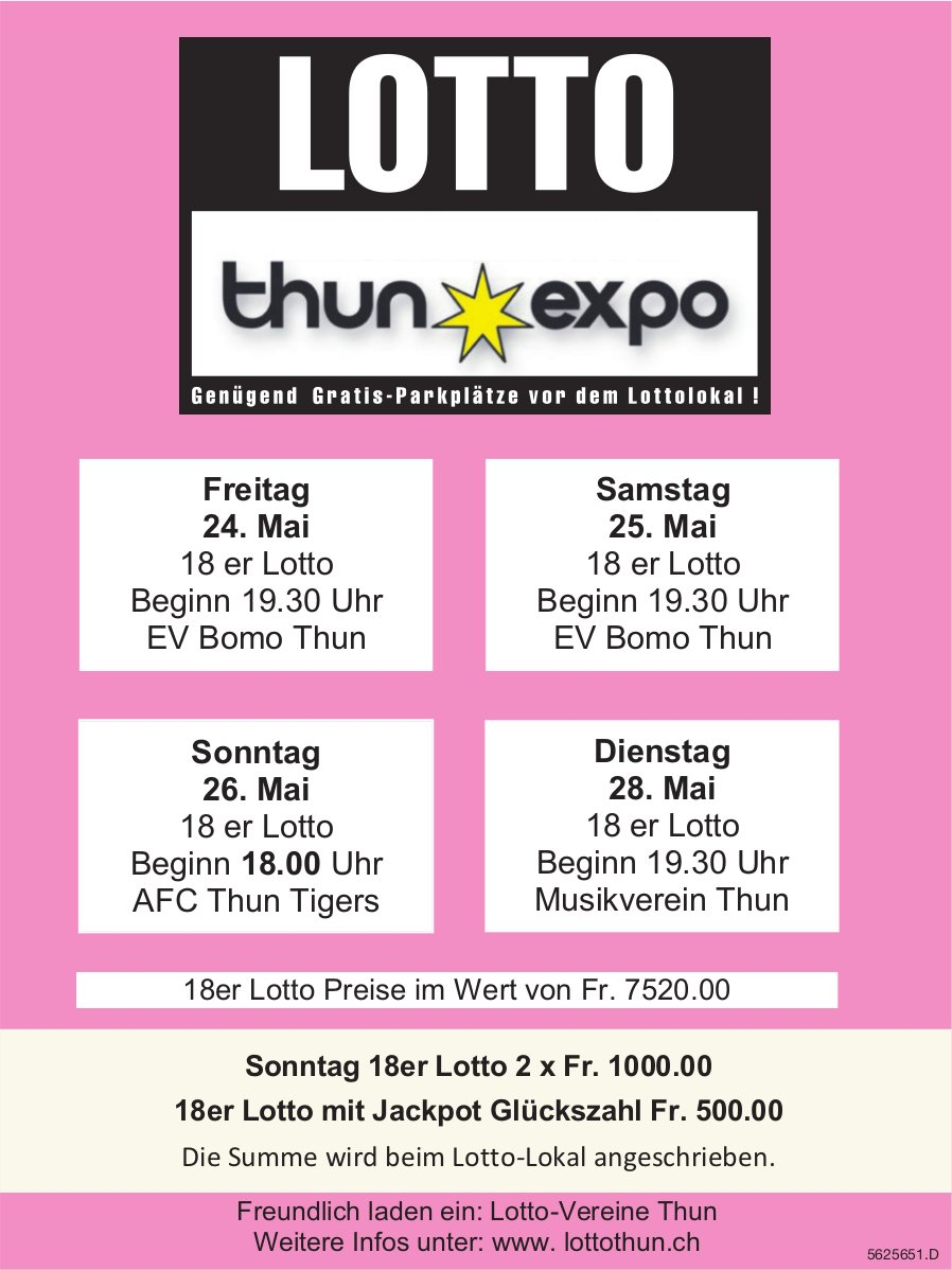 LOTTO Thun Expo - 24./25./26./28. Mai