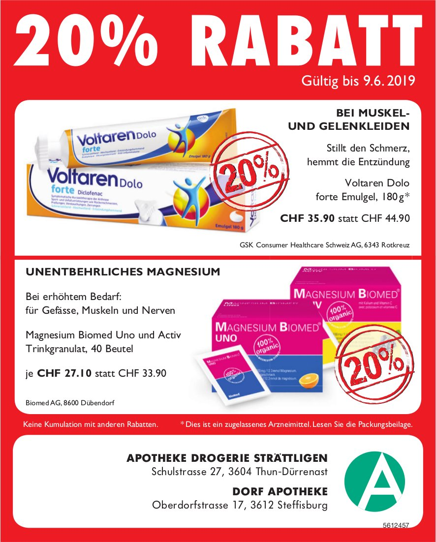 Apotheke Drogerie Strättligen & Dorf Apotheke Steffisburg - 20% RABATT