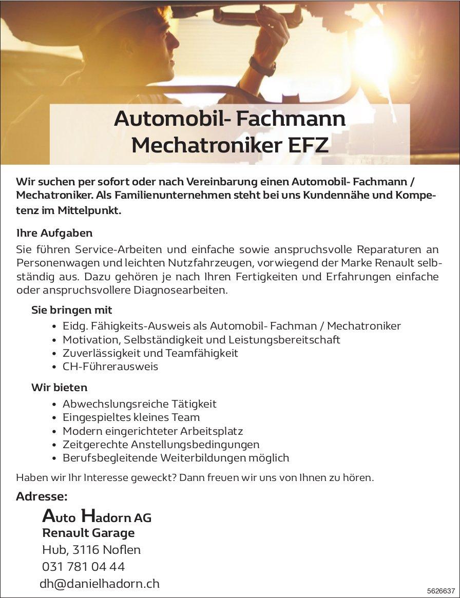 Automobil- Fachmann Mechatroniker EFZ, Auto Hadorn AG, Noflen, gesucht