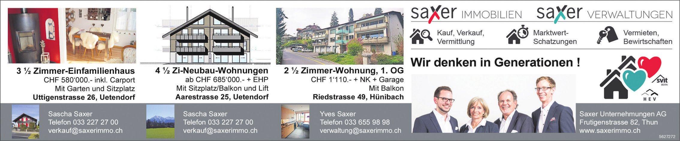 Saxer Unternehmungen AG - Immobilie zu vermieten/ zu verkaufen