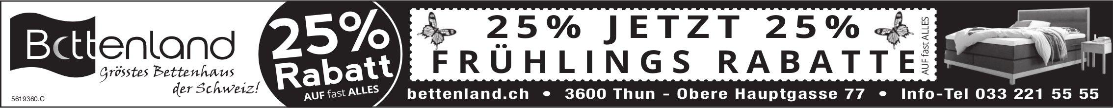 Bettenland, grösstes Bettenhaus der Schweiz - Jetzt 25% Frühlings Rabatte