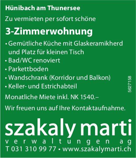 3-Zimmerwohnung in Hünibach am Thunersee zu vermieten