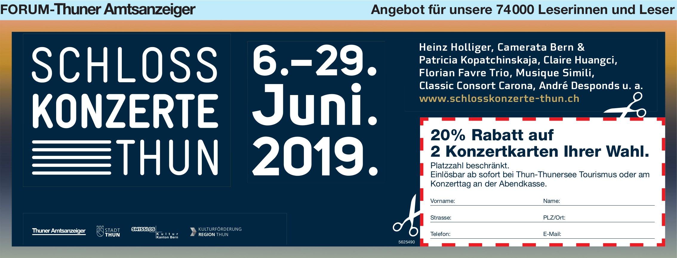 FORUM-Thuner Amtsanzeiger - Schloss Konzerte Thun, 6.-29. Juni