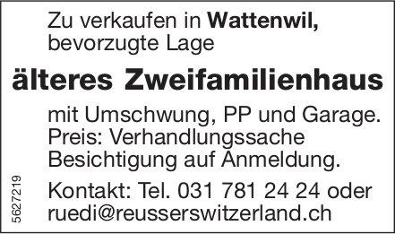 Älteres Zweifamilienhaus in Wattenwil zu verkaufen