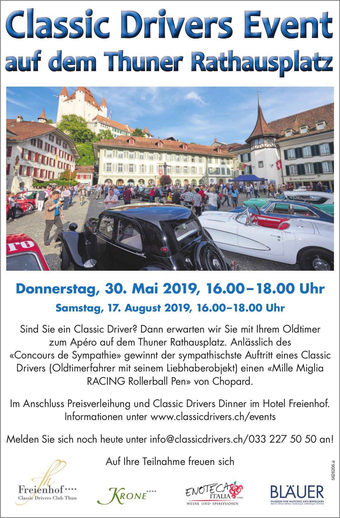 Classic Drivers Event auf dem Thuner Rathausplatz am 30. Mai