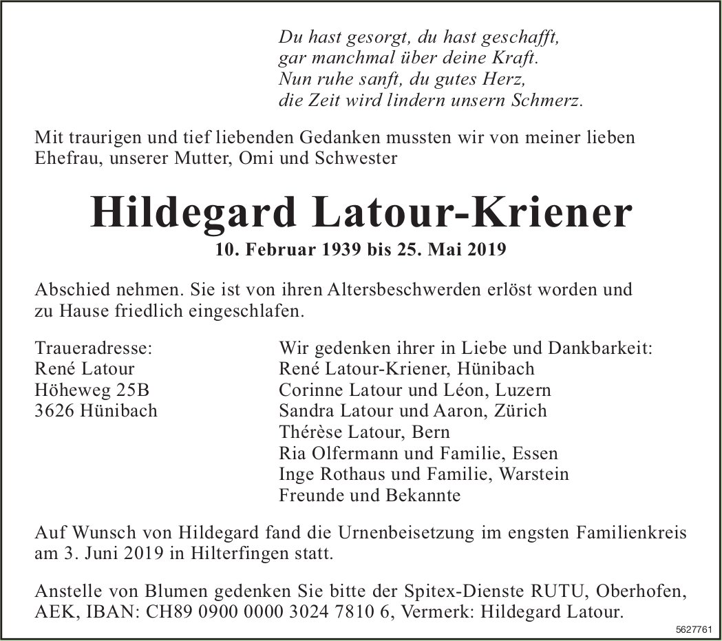 Latour-Kriener Hildegard, Mai 2019 / TA