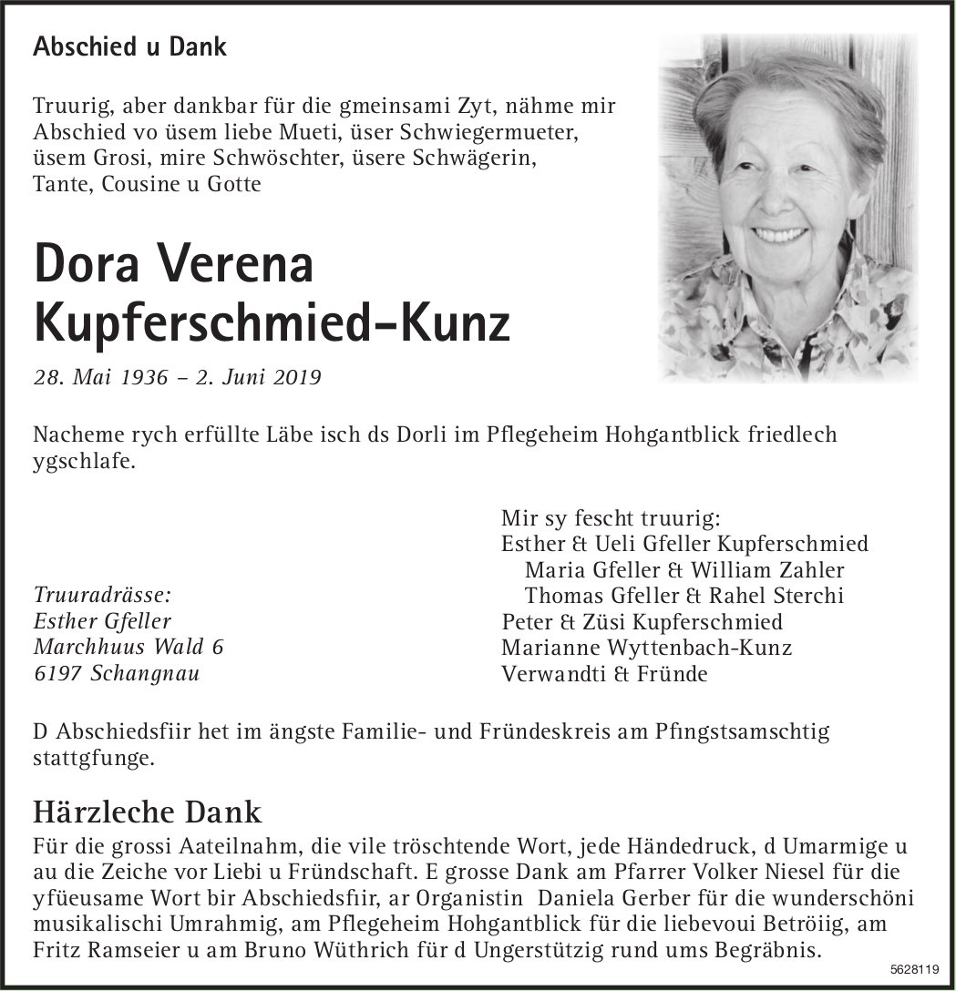 Kupferschmied-Kunz Dora Verena, Juni 2019 / TA + DS