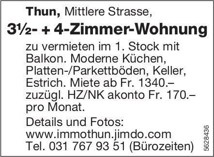 3½- + 4-Zimmer-Wohnung in Thun zu vermieten
