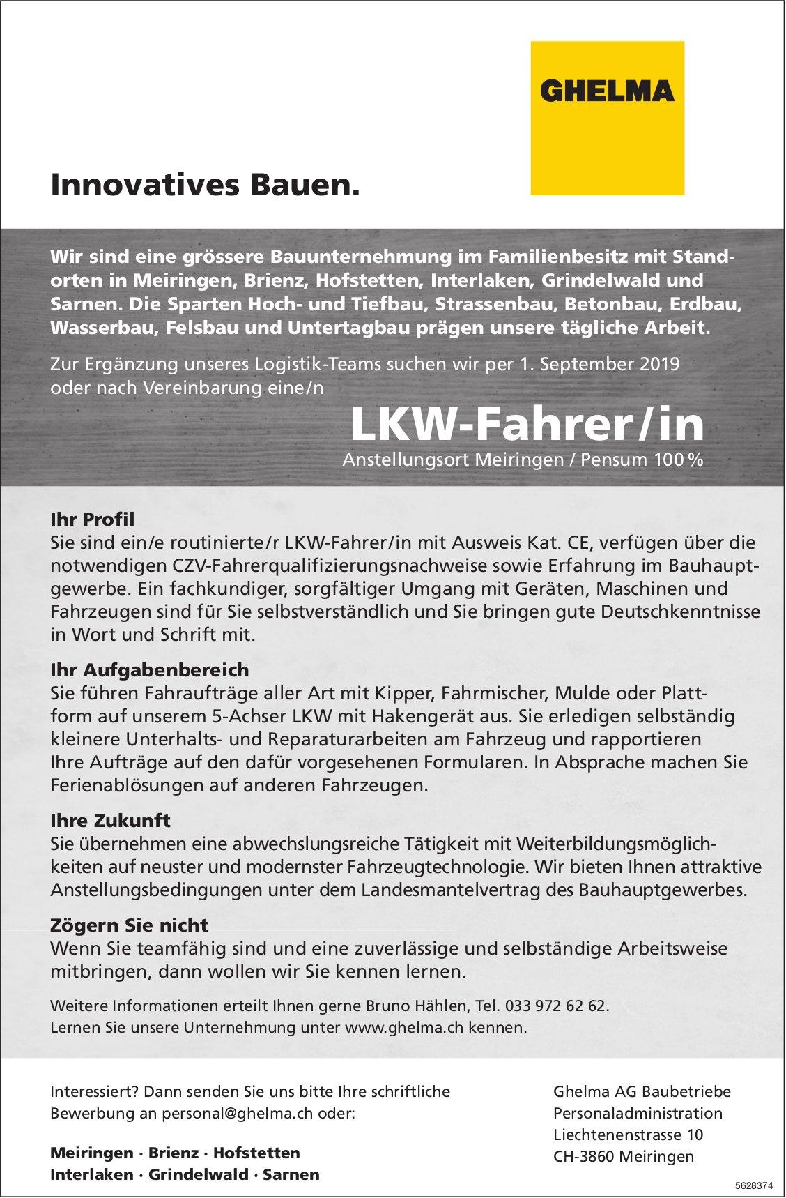 LKW-Fahrer/in 100%, Ghelma AG Baubetriebe, Meiringen, gesucht