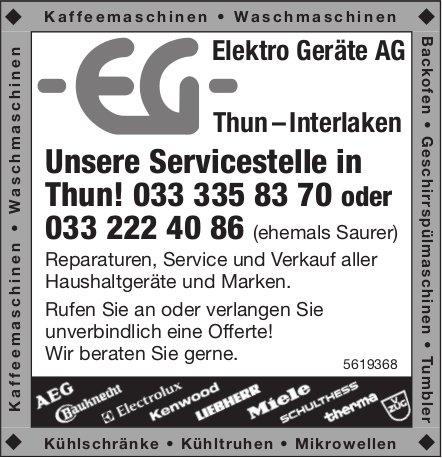Elektro Geräte AG Thun – Interlaken - Unsere Servicestelle in in Thun!
