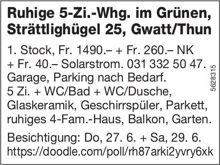 Ruhige 5-Zi.-Whg. im Grünen, Gwatt/Thun, zu vermieten / Besichtigung 27. + 29.6.
