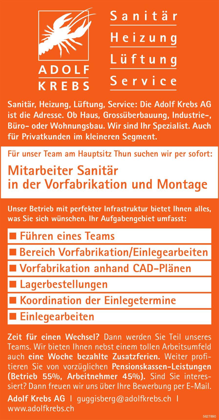 Mitarbeiter Sanitär in der Vorfabrikation und Montage, Adolf Krebs AG, Thun, gesucht