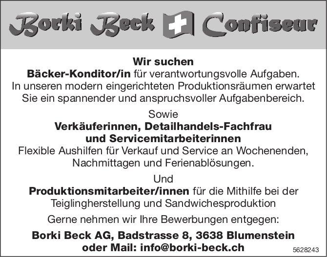 Bäcker-Konditor/in & Verkäuferinnen, Detailhandels-Fachfrau & Servicemitarbeiterinnen..., Borki Beck
