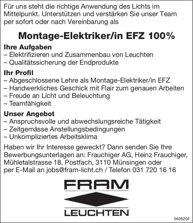 Montage-Elektriker/in EFZ 100%, Frauchiger AG, Münsingen, gesucht