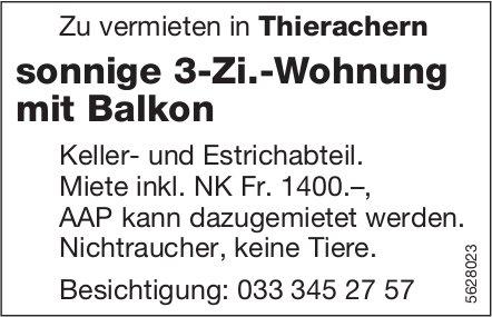 Sonnige 3-Zi.-Wohnung mit Balkon in Thierachern zu vermieten