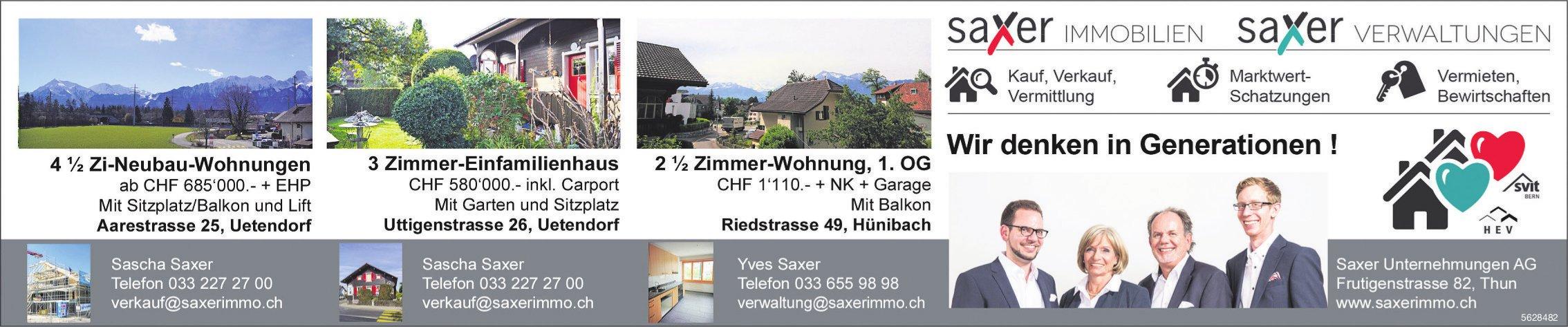 Saxer Unternehmungen AG  - Immobilen zu verkaufen/zu vermieten