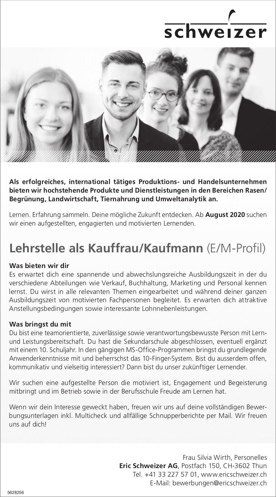 Lehrstelle als Kauffrau/Kaufmann (E/M-Profil), Eric Schweizer AG, Thun, zu vergeben