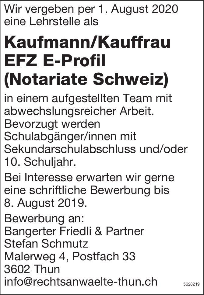 Lehrstelle als Kaufmann/Kauffrau EFZ E-Profil (Notariate Schweiz), Bangerter Friedli & Partner, Thun