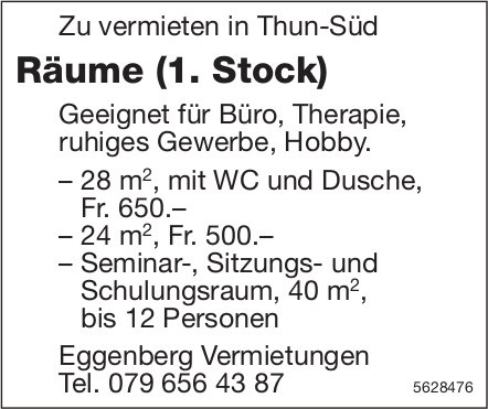 Räume (1. Stock) in Thun-Süd zu vermieten