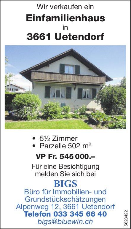 Einfamilienhaus, 5½ Zimmer, in Uetendorf zu verkaufen