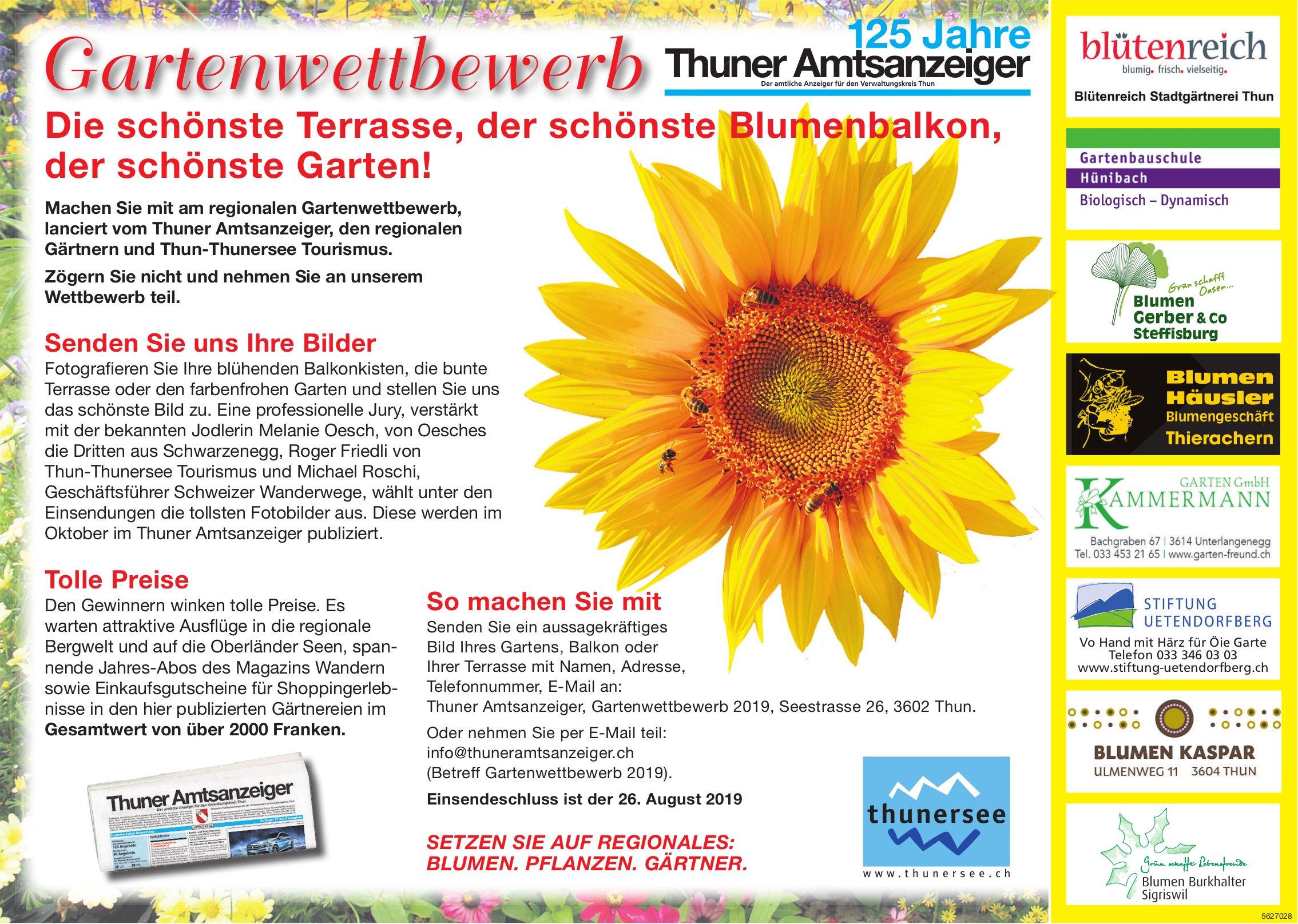 125 Jahre Thuner Amtsanzeiger - Gartenwettbewerb: Die schönste Terrasse, der schönste Blumenbalkon..