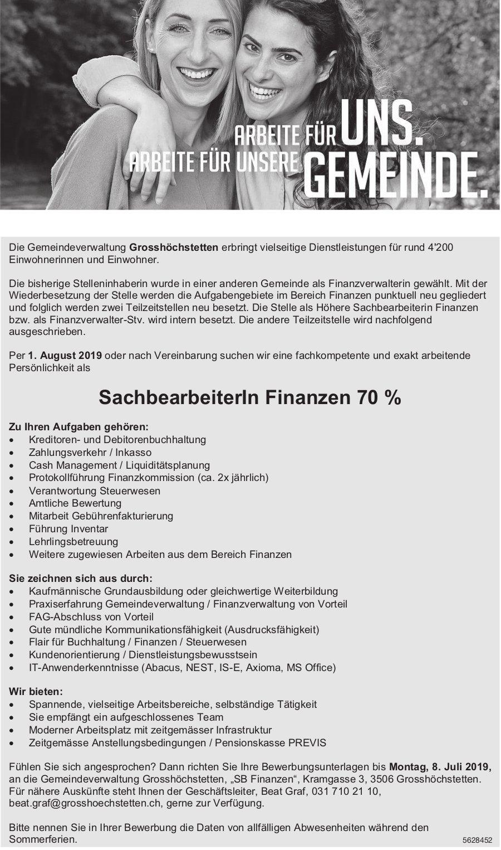 Sachbearbeiter/in Finanzen 70%, Gemeindeverwaltung Grosshöchstetten, gesucht