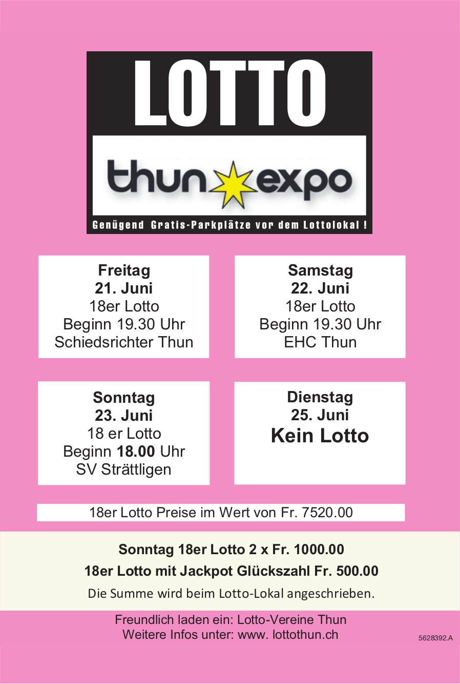 LOTTO Thun Expo, 21./22./23. Juni - Kein Lotto am 25. Juni