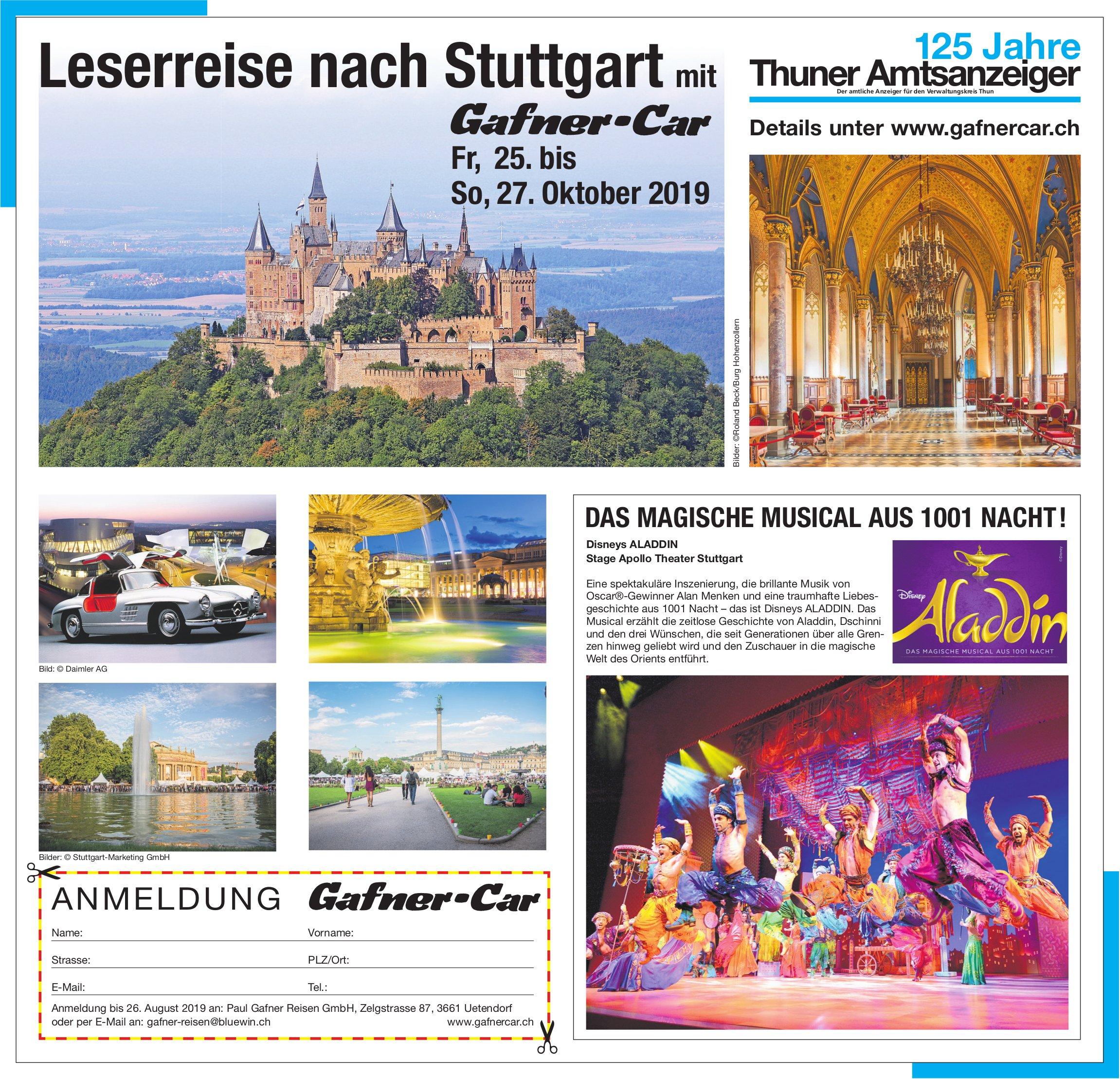 125 Jahre Thuner Amtsanzeiger - Leserreise nach Stuttgart mit Gafner-Car, 25. bis 27. Oktober