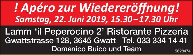 Lamm 'il Peperocino 2' Ristorante Pizzeria - ! Apéro zur Wiedereröffnung am 22. Juni