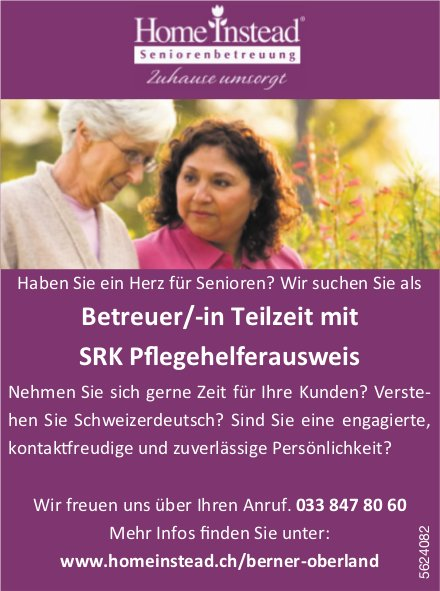 Betreuer/-in Teilzeit mit SRK Pflegehelferausweis, Home Instead Seniorenbetreuung, gesucht