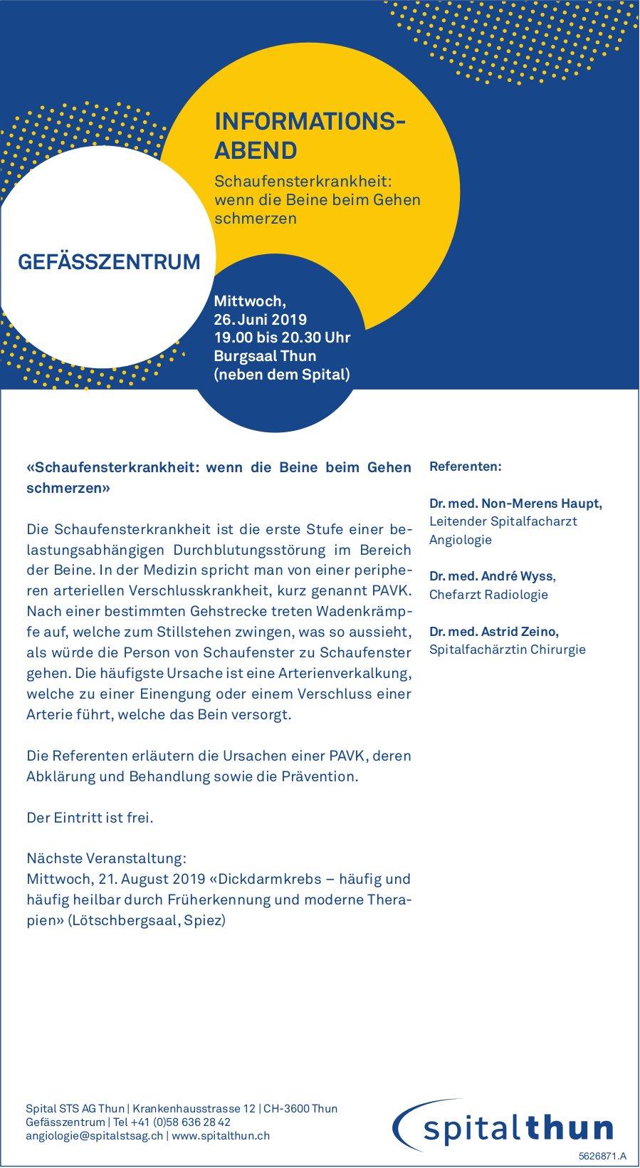 Spital STS Thun - Infoabend «Schaufensterkrankheit: wenn die Beine beim Gehen schmerzen», 26. Juni