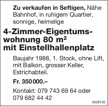 4-Zimmer-Eigentumswohnung 80 m2 mit Einstellhallenplatz in Seftigen zu verkaufen