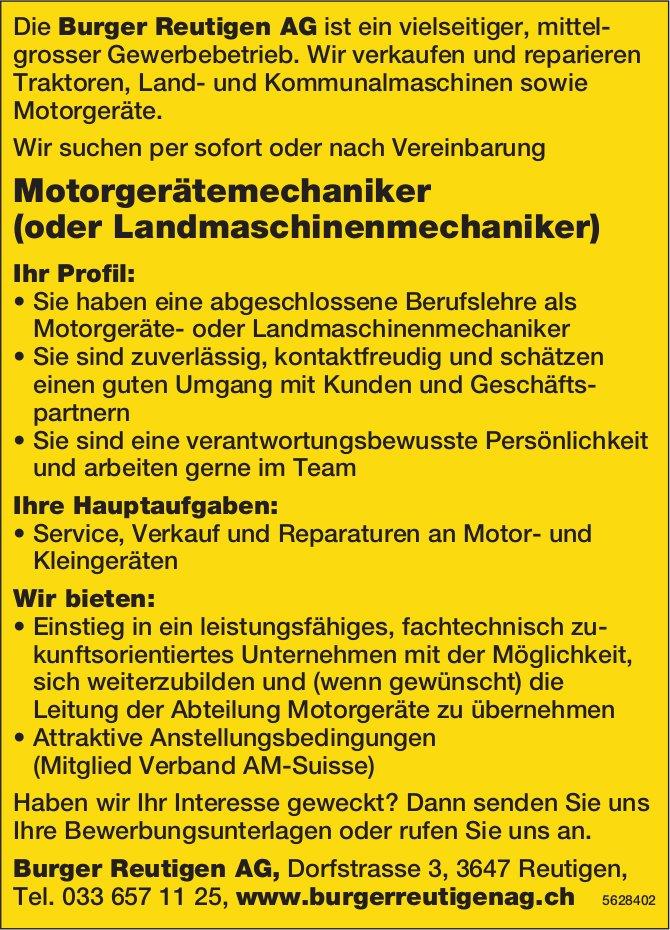 Motorgerätemechaniker (oder Landmaschinenmechaniker), Burger Reutigen AG, Reutigen, gesucht
