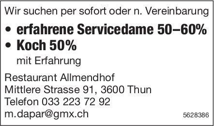 Servicedame 50–60% & Koch 50%, Restaurant Allmendhof, Thun, gesucht