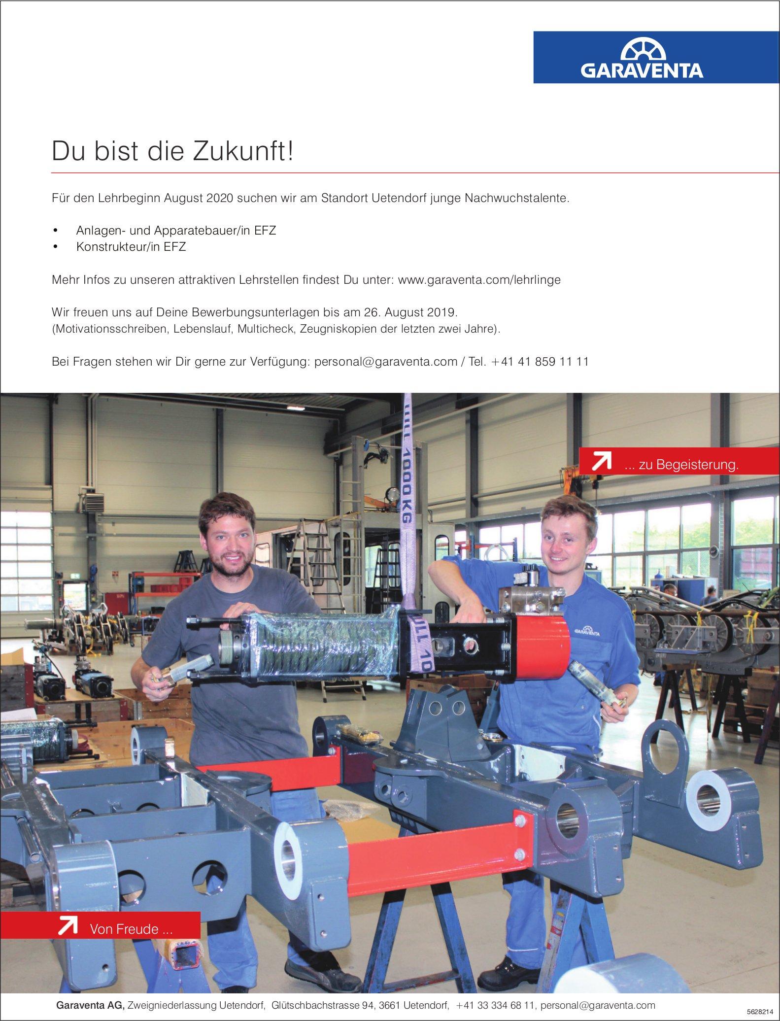 Lehrstellen als Anlagen- und Apparatebauer/in EFZ, Konstrukteur/in EFZ, Garaventa AG, Uetendorf