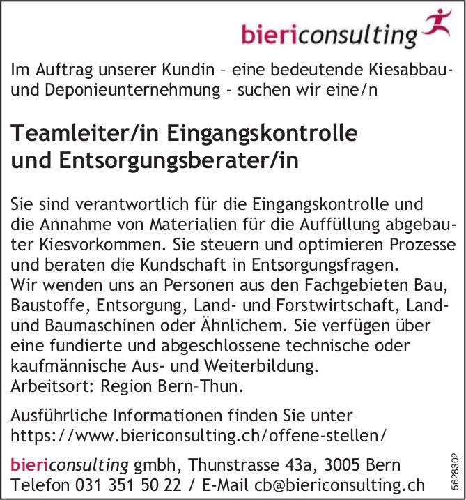 Teamleiter/in Eingangskontrolle und Entsorgungsberater/in, biericonsulting gmbh, Bern, gesucht