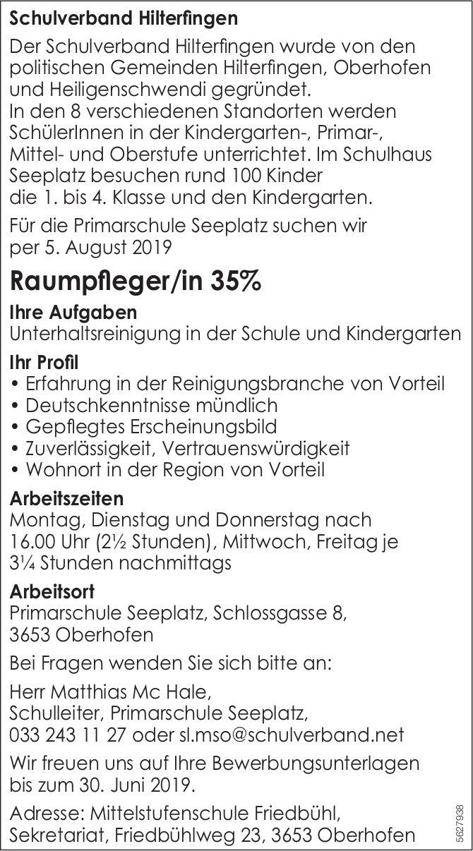 Raumpfleger/in 35%, Schulverband Hilterfingen, Primarschule Seeplatz, gesucht
