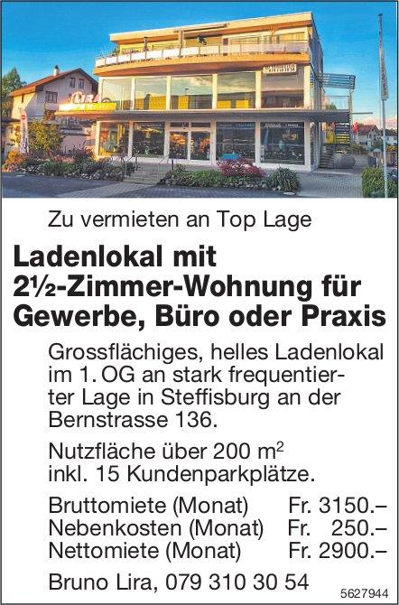 Ladenlokal mit 2½-Zimmer-Wohnung für Gewerbe, Büro oder Praxis in Steffisburg zu vermieten
