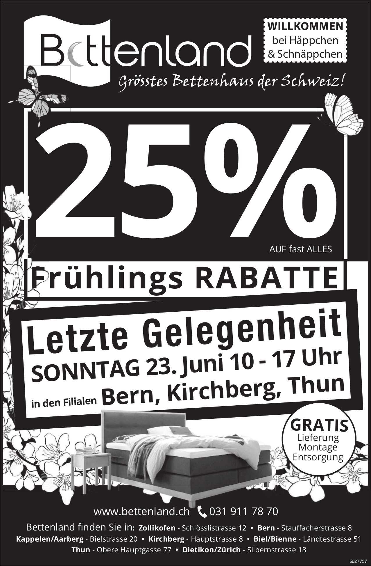 Bettenland, grösstes Bettenhaus der Schweiz! 25% Frühlings Rabatte / Letzte Gelegenheit 23. Juni