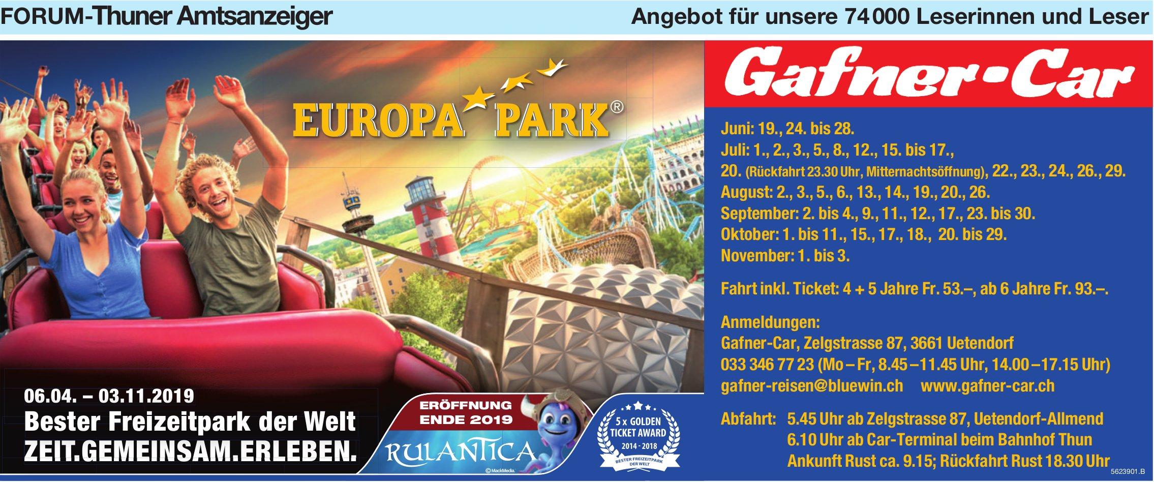 Forum-Thuner Amtsanzeiger - Europa Park mit Gafner-Car